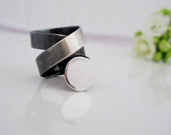 Wide band silver ring Tatoo, made to order, Modern , contemporary, simple, gift for her