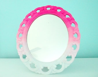 Neon Pink Mirror - Ombre Painted Narrow Vintage Ornate Wall Mirror - Fluorescent Hot Pink to White