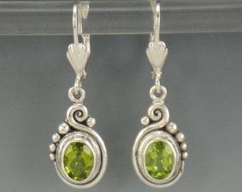 Sterling Silver Peridot Earrings- One of a Kind