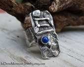 Rustic one of a kind statement ring, hand fabricated fused sterling silver ring, oxidized, unearthed, weathered, original metalsmith jewelry