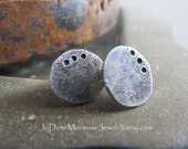 Rustic Sterling Studs - hand hammered, hand forged metalwork reclaimed sterling silver post earrings, metalsmith jewelry