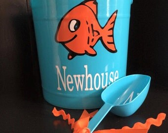 Personalized Bucket With Fish - Personalized Easter Basket - Blue Bucket - Ice Bucket - Halloween Tub