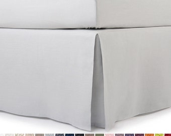 Linen bedskirt Queen King Double or Twin size bedskirts Flat box pleat on angles Custom drop Dove grey or custom color bed skirt