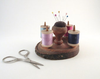 Vintage Pin Cushion Spool Holder Rustic Turned Wood and Bark Souvenir Portland, OR