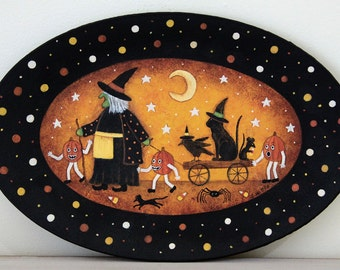 Folk Art Halloween Primitive Plate, Witch Pulling Cart with Cat, Crow, Spider, Pumpkin People, Mice, Moon, Hand Painted Art, MADE TO ORDER