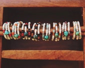 BTR-01, handmade theee layered beaded wite ring with a genuine turquoise