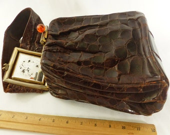 Handbag Antique Leather Vintage Alligator Purse Dark Chocolate Brown Art Deco 1940s