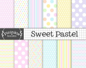 Pastel Digital Paper Pack, Triangles, Stripes, Polka Dots, Chevrons, Purple, Pink, Blue, Yellow, Green, Digital Scrapbook Paper