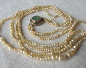 Reserved - Antique Victorian natural ocean Basra, Bahrain seed pearl necklace, 14k jade clasp
