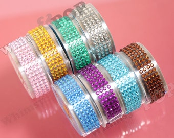 SALE - 1 Roll of Pink Green Blue Purple Brown Yellow Silver Rhinestone Deco Tape, Bling Deco Tape , Crafts DIY Decoration, 18mm