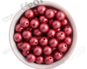 16mm - Fire Red MATTE Pearl Beads, Chunky Pearl Beads, 16mm Pearl Beads, Pearl Gumball Beads, Bubblegum Beads, 2MM Hole