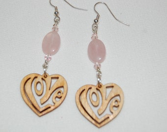 Rose Quartz Earrings Dangle Earrings Gemstone Earrings Wooden Heart Earrings Love