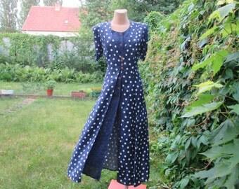 Long Dress / Dress Vintage / Maxi Dress / Size EUR40 / 42 / UK12 / 14 / Navy / White Polka Dots / Buttoned Dress / Adjustable Straps