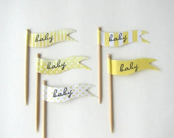 Baby Shower Cupcake Toppers by Kiwi Tini, Baby shower cupcake flags, baby cupcake toppers