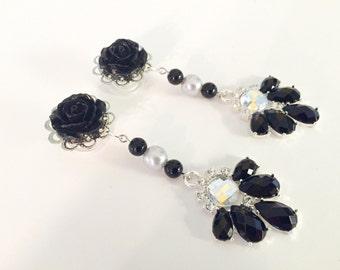"""000g 7/16"""" Dangle Plugs 9/16"""" Chandelier Plugs, 1/2"""" Gauged Earrings, Formal Rhinestone Plugs, Bridal Body Jewelry Earrings Piercing"""