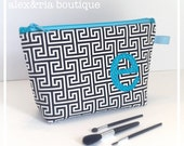 Monogram Makeup Bag - Personalized Toiletries Case - Bridesmaid Maid of Honor Gift -  Black White Wedding - Travel Accessory - Day Spa Bag