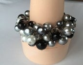 Chunky Pearl bracelet in white grays and black,bridesmaid jewelry, cluster pearl