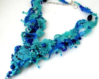 Beaded necklace, Turquoise necklace, Statement necklace, Art jewelry, Beadwork, Blue seed bead necklace