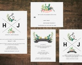 Printable Succulent Wedding Invitation Suite | Wedding Invites, Wedding Invitation Set, Green Wedding, Cactus