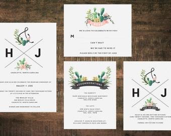 Printable Succulent Wedding Invitation Suite   Wedding Invites, Wedding Invitation Set, Green Wedding, Cactus