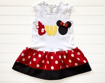 Girls Custom Mouse Number Dress TWO Birthday Outfit Kids Girl Clothing Baby Toddlers Dress size 6 12 18 24 Months Girls 2 3