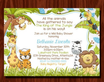 Jungle themed Baby Shower Invitation Printable Digital File