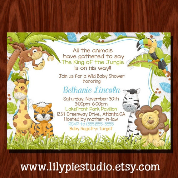 jungle themed baby shower invitation printable digital file by lily