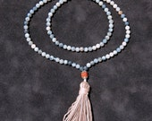 MALA BEADS - Blue/Grey Opal Beads With Rudraksha Guru Bead
