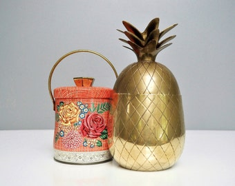 "Vintage 8"" Brass Pineapple Container or Candle Holder"