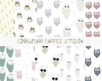 cute owls digital papers, owl background, sweet owl texture, hand drawn owls backgrounds, owl digital paper pack, woodland owls, set of 10