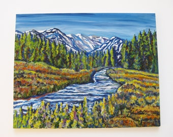 Mountain river painting, Large Original oil on canvas, impressionistic river mountain landscape painting