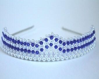 Dark Blue Crystal and Pearl Princess Tiara, Prom Tiara, Birthdat Tiara, Bridal Tiara