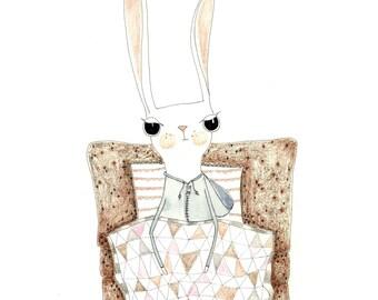 Kids Wall Art, Kids Art,  All rugged up - Rabbit Print - Limited Edition 8x10 Print by Jennie Deane