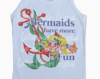 "tank tee shirt one piece body suit tshirt Vintage inspired childrens tshirt ""Mermaids have more fun"""