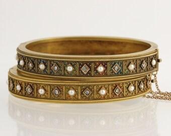 "Victorian Bangle Bracelet Set 6.25"" - 18k Yellow Gold Diamond Pearl c.1870's-80s L2550"