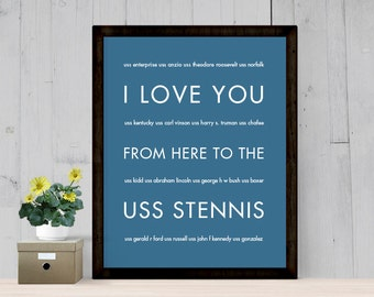 US Navy Gifts, Mom Girlfriend Wife Deployment, Personalized, I Love You From Here To USS Stennis, Shown in Steel Blue