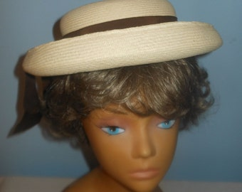 Vintage 1940's Hattie Carnegie Original Straw School Girl Style Womans Hat