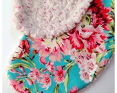 Bliss Bouquet Teal Nursing Pillow Boppy Cover Pink and Ivory Coral Rosette Minky // Baby Girl Gift / Pillow not included