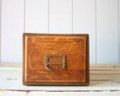 Vintage Oak Card Catalog // Single Drawer Library File Cabinet