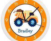 Boys Personalized Dumptruck WALL CLOCK truck