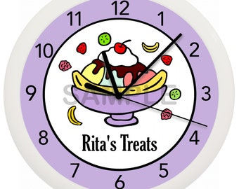 Personalized Ice Cream Sundae Wall Clock Parlor