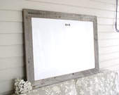 """Dry Erase Whiteboard Barnwood Frame MAGNETIC Bulletin Board LARGE Reclaimed Recycled Weathered Gray Rustic Wood 29.5 x 41.5"""" Handmade Frame"""
