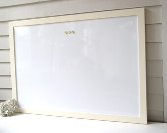 DRY ERASE Whiteboard - Extra Large MAGNETIC Bulletin Board Solid Wood Framed Board Deluxe Modern Handmade Creamy Pale Yellow Frame Paint