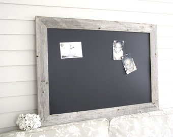 MAGNETIC Framed Chalkboard Barnwood Bulletin Board LARGE Reclaimed Recycled Weathered Gray Rustic Wood 29.5 x 41.5 Handmade Made in USA