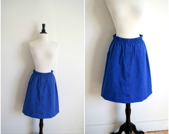 Vintage high waist blue canvas skirt / button front elastic waist skirt