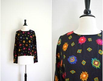 Vintage black multicolored aztec print blouse / long sleeve southwestern top