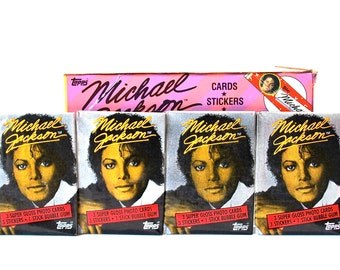 4 Michael Jackson Photo Cards & Sticker Packs Topps 1984
