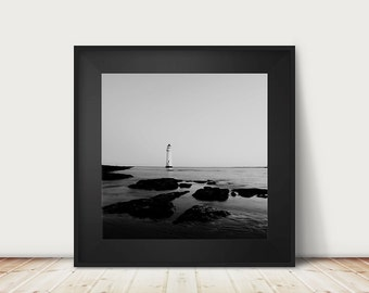 lighthouse photograph black and white photography beach photograph nautical decor ocean photograph lighthouse print ocean print