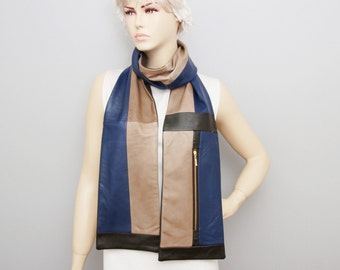 Unisex man GENUINE lambs LEATHER unisex long  scarf  ,with zippers
