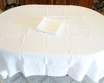 Irish Linen Tablecloth Chrysanthemum 88 X 73 Damask 12 Matching Napkins